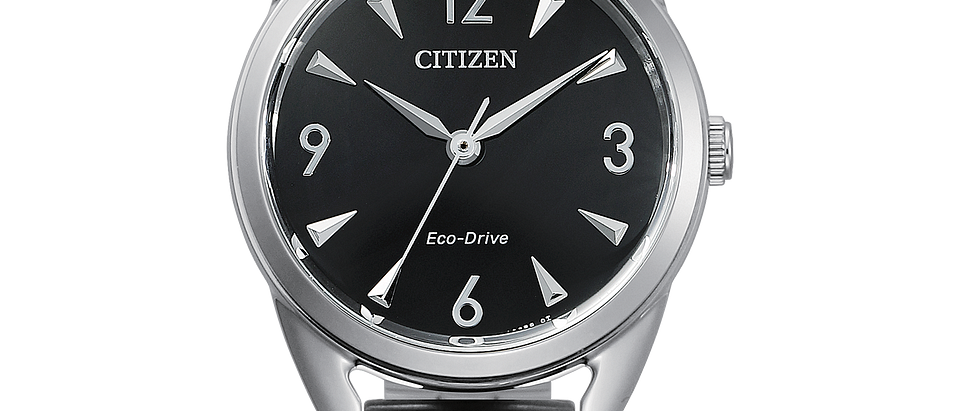 Citizen Eco-Drive Stainless Steel with Black Dial EM0680-70E