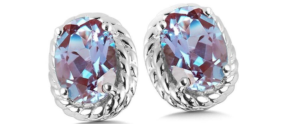 Created Alexandrite Earrings