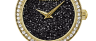 Caravelle Modern Gold Tone with Black and Clear Crystals 44L243