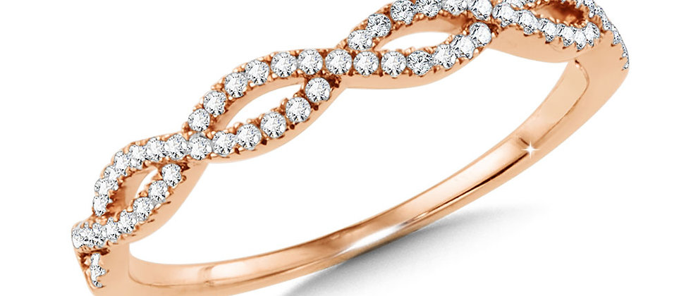 ROSE GOLD CRISS CROSS STACKABLE BAND