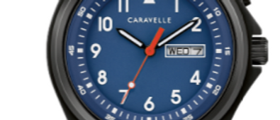 Caravelle Black with Blue Dial 45C118