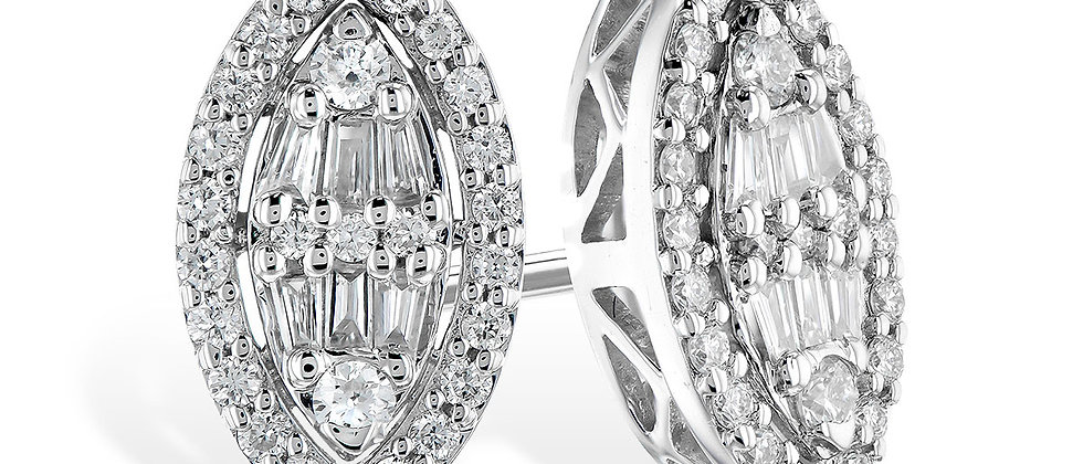 White Gold Baguette and Round Diamond Earrings