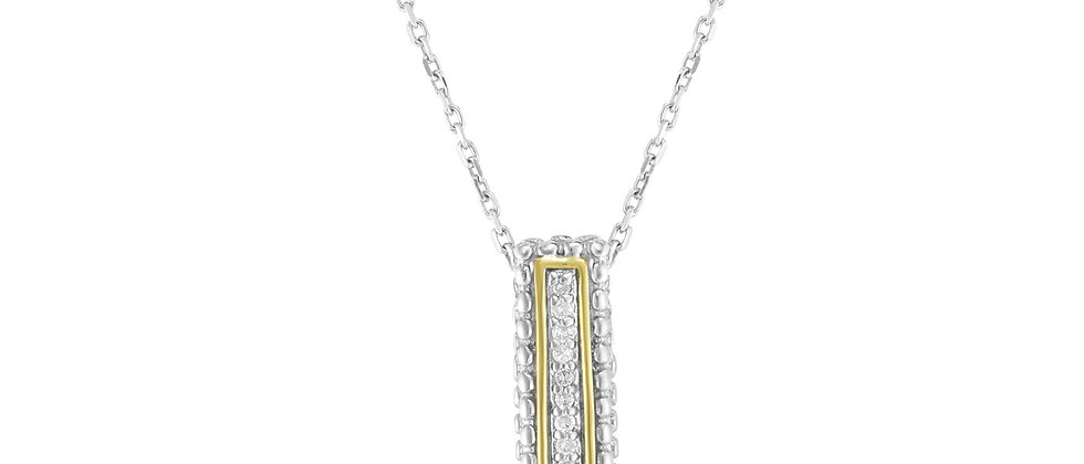 Silver & 18K Diamond Bar Necklace