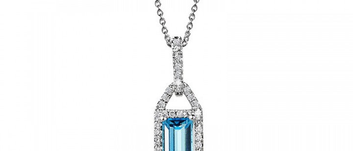 EMERALD-CUT BLUE TOPAZ AND DIAMOND PENDANT