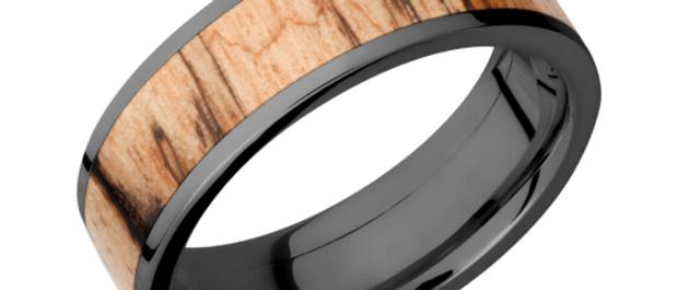 Zirconium Band with Hardwood Inlay