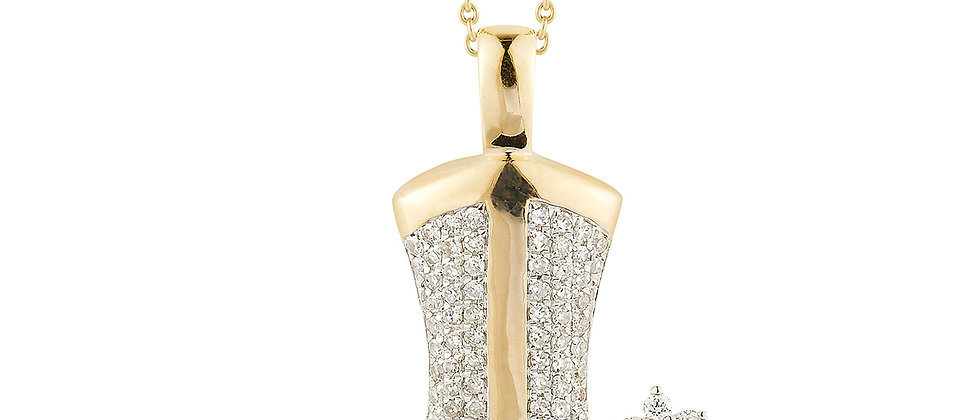 Gold Diamond Boot Necklace