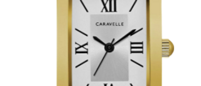 Caravelle Dress Gold Tone with Dark Leather  Band 44L234