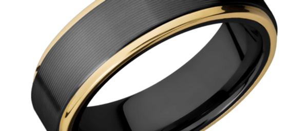 Zirconium Band with 14K Yellow Gold Edges