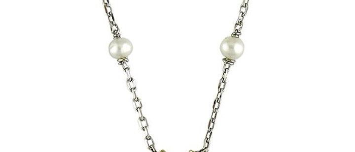 Silver Black Diamond and Pearl Hamsa Necklace