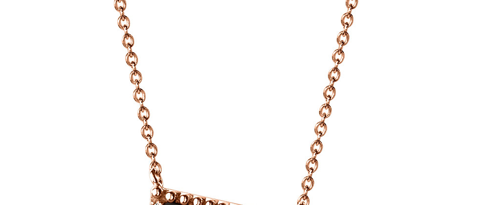 TRIANGULAR ONYX AND DIAMOND ROSE GOLD NECKLACE