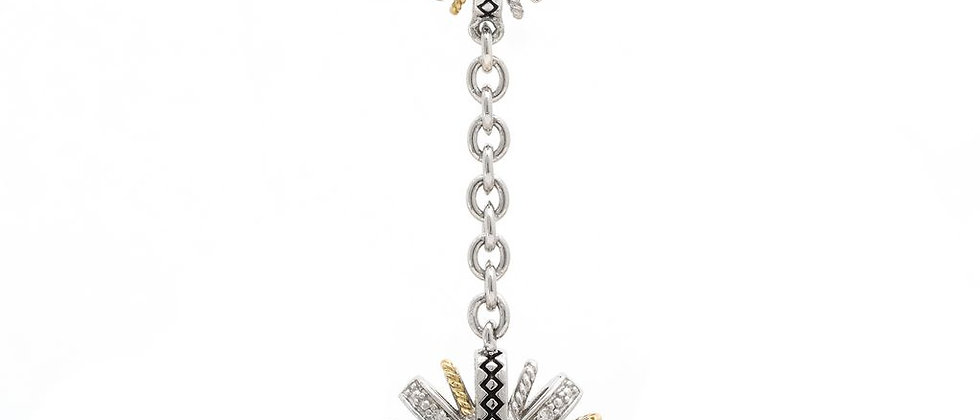 Silver and 18K Diamond Dangle Necklace