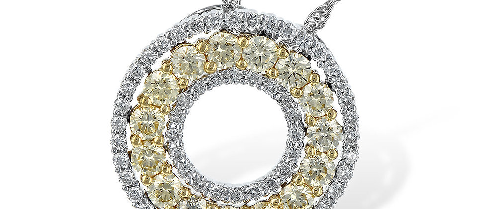 White Gold Yellow Diamond Circle Necklace