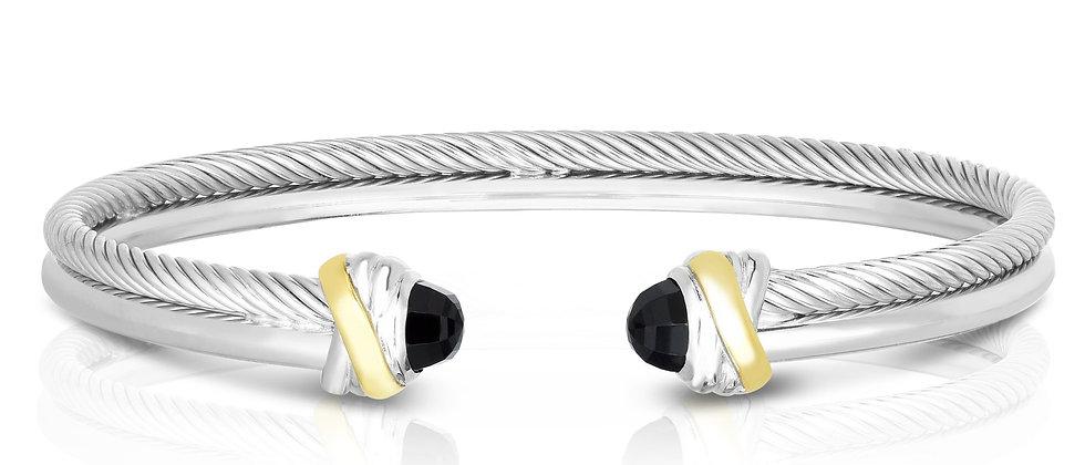 Silver & 18K Cuff Bracelet