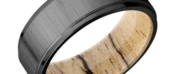 Zirconium Band with Hardwood Sleeve