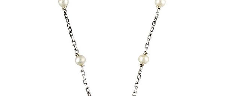Silver Black Diamond and Pearl Necklace