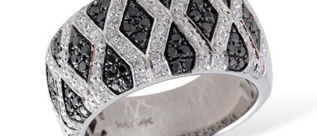 LADIES WEDDING RING .49 BLACK DIAMOND .94 TW