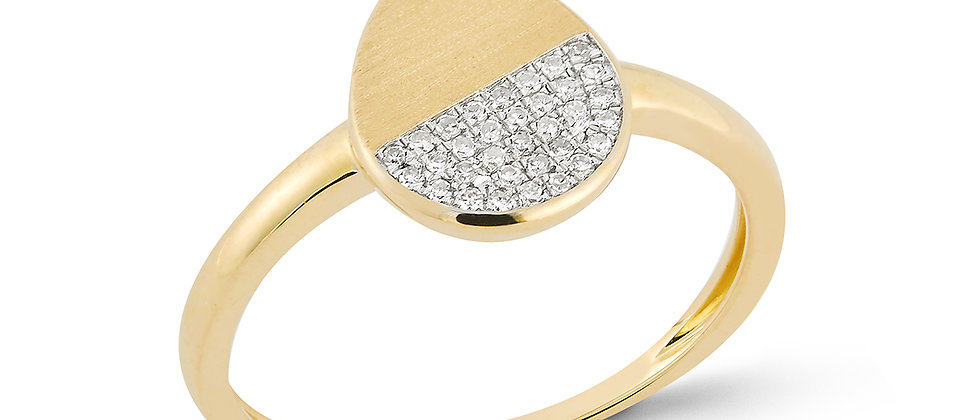 Yellow Gold Diamond Pear Shaped Ring