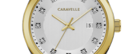 Caravelle Dress Two Tone with Crystal Hour Markers 45B154