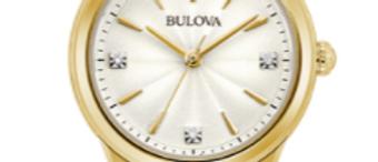 Bulova Sutton Gold Tone White Dial with Diamonds 97P150