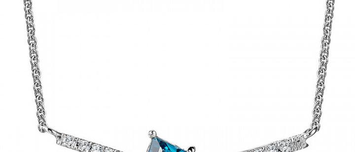 DIAMOND AND LONDON BLUE TOPAZ KITE NECKLACE CGP174W-DLBT