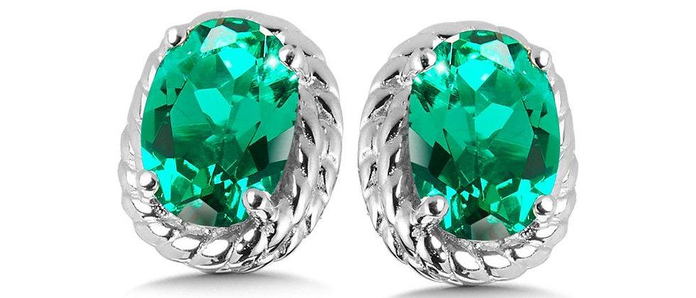 Created Emerald Earrings