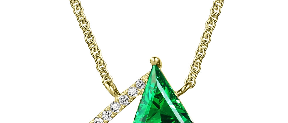 Diamond and Green Quartz Necklace