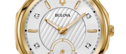 Bulova Curv White and Gold Tone with Diamonds 98R237