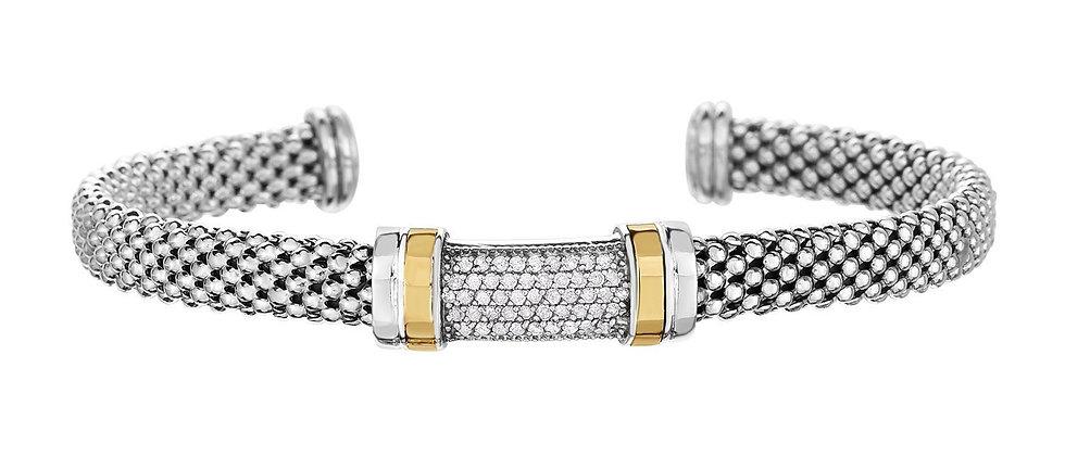 Silver & 18K Diamond Bracelet