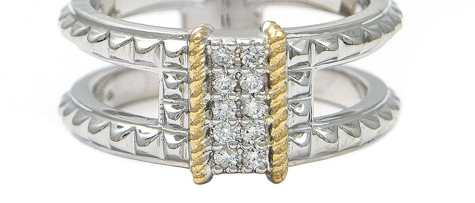 Silver and 18K Diamond Ring