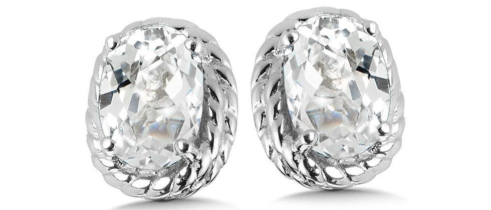 Created White Sapphire Earrings