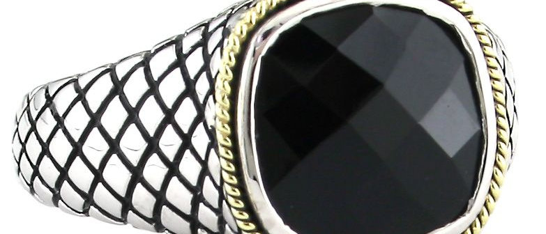 Silver and 18K Onyx Ring
