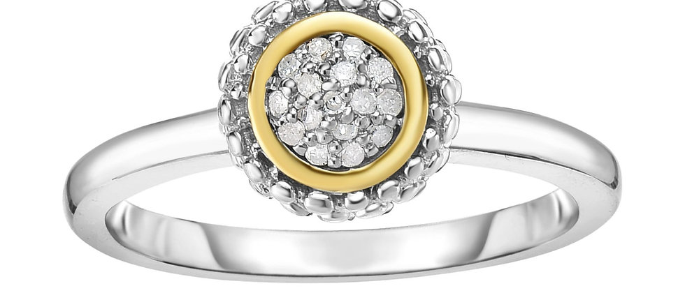 Silver & 18K Diamond Ring