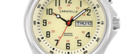 Caravelle Traditional Stainless Steel with Parchment Colored Dial 43C124