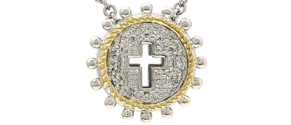 Silver and 18K Diamond Cross Necklace