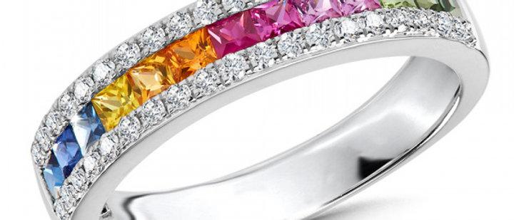 SAPPHIRE AND DIAMOND RAINBOW CHANNEL BAND