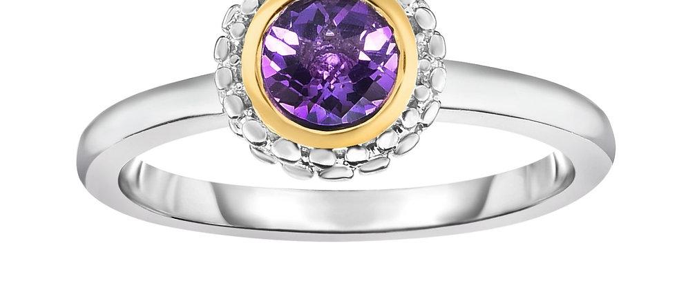 Silver & 18K Amethyst Ring