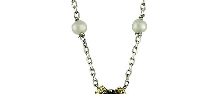 Silver Black Diamond and Pearl Cross Necklace