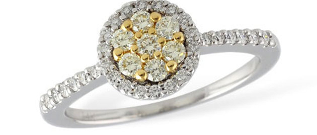 White and Yellow Diamond Ring