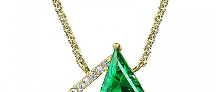 GREEN QUARTZ AND DIAMOND TRIANGLE NECKLACE