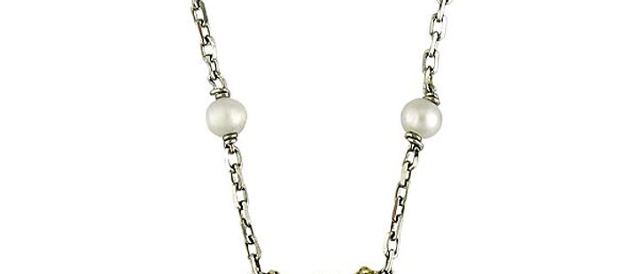 Silver Black Diamond and Pearl Circle Necklace