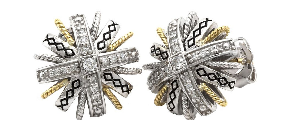 Silver and 18K Diamond Earrings
