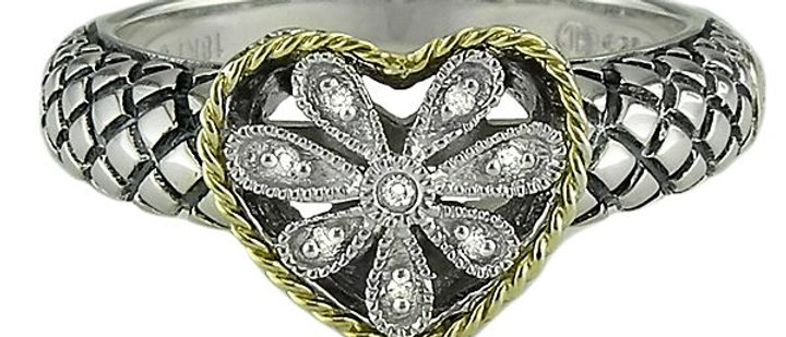 Sterling and 18K Diamond Heart Ring