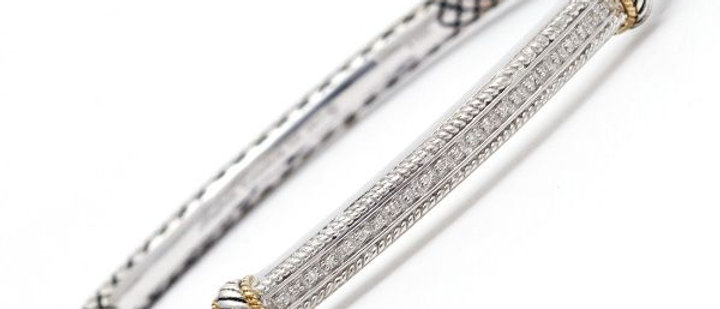 Silver and 18K Diamond Bar Bracelet