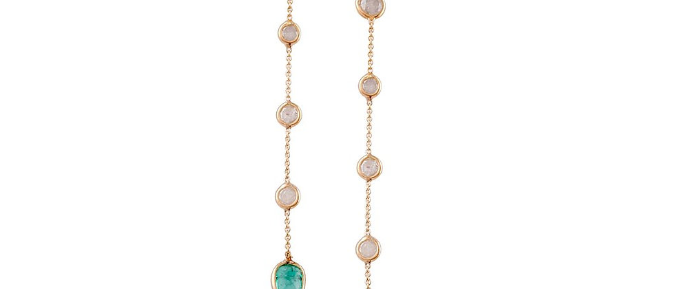 Moonstone and Emerald Earrings