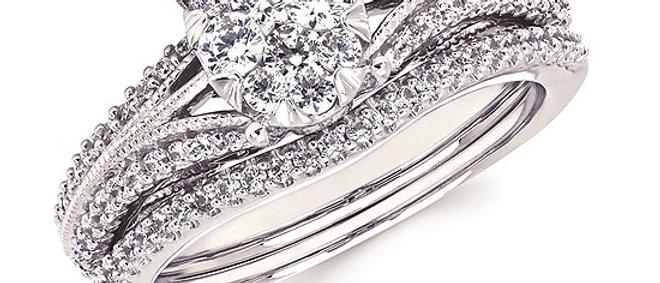 14K White Gold Diamond Wedding Set