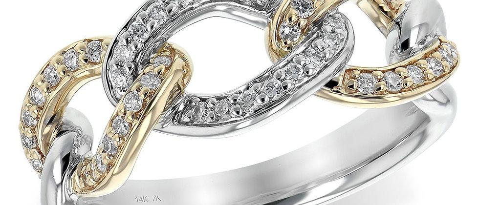 Two-Tone Gold Diamond Chain Ring