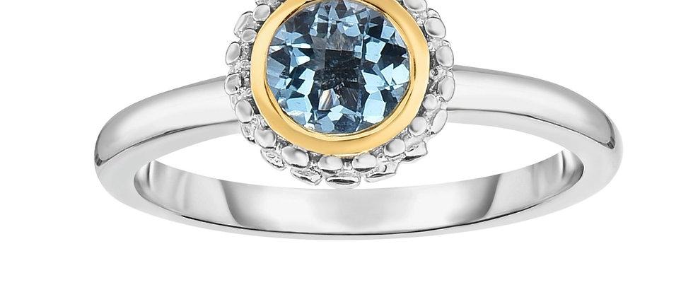 Silver & 18K Blue Topaz Ring