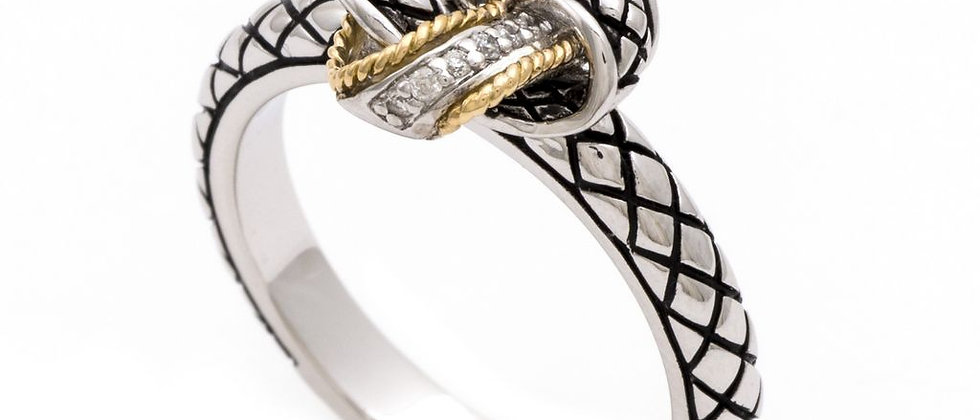 Silver and 18K Diamond Knot Ring