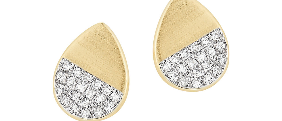 Yellow Gold Diamond Pave Earrings