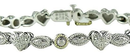Silver Diamond Heart Bracelet